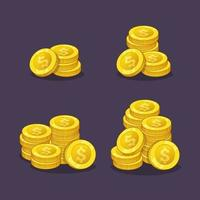 Pila de monedas de oro dinero en efectivo activos ilustración vectorial vector