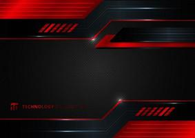 Abstract technology geometric red and black color shiny motion background. vector