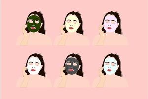 Girl with various face masks