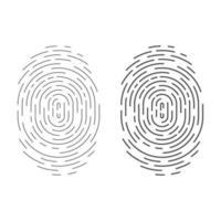 icono de vector de huella digital de círculo aislado en blanco