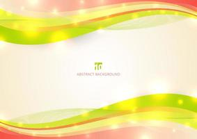 Abstract colorful wave line with light glow on white background space for your text. vector