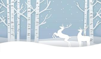Seamless Christmas Winter Forest Background With Reindeers. vector