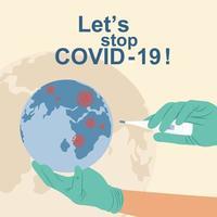 Detengamos el covid-19 y protejamos este concepto mundial. vector