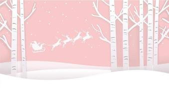 Seamless Christmas Winter Forest Background With Santa Claus And Reindeers. vector