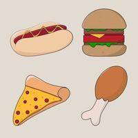 dibujos animados de comida chatarra o rápida popular vector