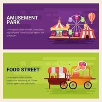 Banner of carnival circus, fun fair amusement park vector