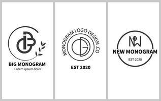 Monogram linear vector emblem set