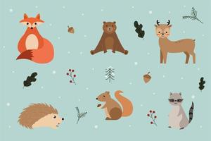 Winter woodland character set