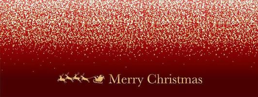Abstract Red Christmas Background With Gold Glitter Particles And Text Space. vector