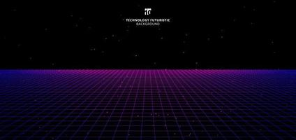 Abstract technology futuristic concept blue and pink grid perspective on black background and lighting vector