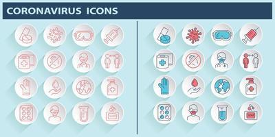 Coronavirus 2019-nCoV Covid-19 Prevention icon set vector