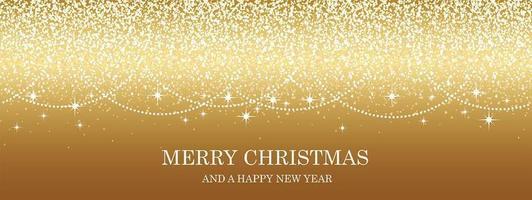 Fondo de Navidad dorado abstracto con partículas brillantes y espacio de texto. vector