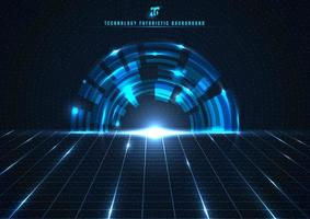 Abstract technology futuristic digital concept engineering gear wheel with perspective grid and lighting glowing particles dots elements on dark blue background.