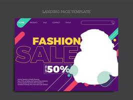 Landing page template for clothes fashion business vector