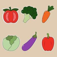 Sticker style vegetable cartoon