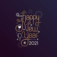 Happy New Year 2021 with lettering typography style for greeting card vector
