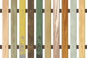 Vintage colored wooden fence vector illustration