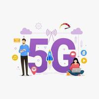 Personas que utilizan conexión inalámbrica de alta velocidad 5g a través de la ilustración de vector de concepto de diseño de teléfono inteligente móvil