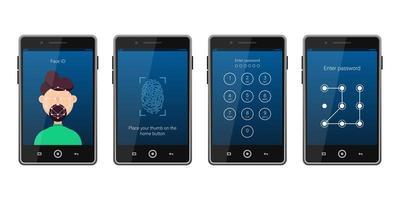 Set of different screen lock on smartphone vector