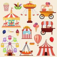 Conjunto de carruseles en la ilustración de vector de feria de diversión de carnaval
