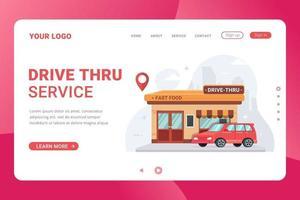 Landing page template drive thru fast food restaurant vector illustration