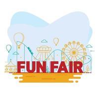 circo de carnaval con carpa, carruseles, entrada al parque de atracciones vector