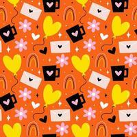 Hand drawn valentines day pattern vector