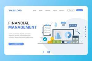 concepto de diseño de gestión financiera de plantilla de página de destino