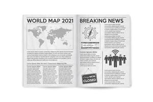 Realistic vector illustration of the page spread newspaper layout.