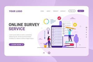 Plantilla de página de destino encuesta en línea y servicio de votación ilustración vectorial vector