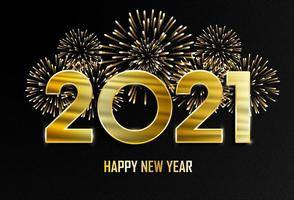 Happy New Year and Merry Christmas. 2021 New Year golden background with fireworks.