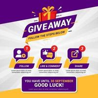Giveaway steps for social media contest design concept vector