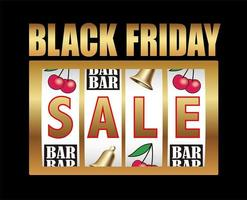 Black Friday Sale Symbol With A Coin Machine Display On A Black Background. vector
