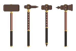 Medieval battle hammer vector illustration