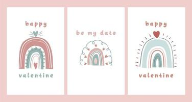 tarjeta del día de san valentín nota de dedicación carta de amor lindo diseño de dibujos animados escandinavo
