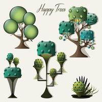 A contemporary collection of trees illustrations vector