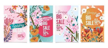 Spring Floral Sale Offer Card vector