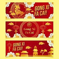 banner de concepto de año nuevo chino elegante buey dorado