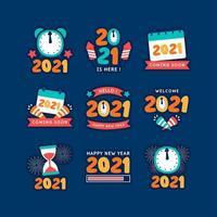 Cuenta regresiva de año nuevo con relojes de arena y calendario. vector