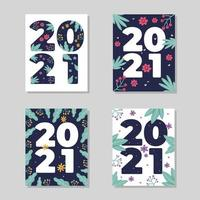 2021 Floral Cards Vector