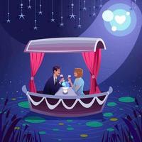 Cute Romantic Dinner vector