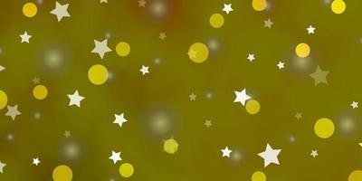 textura de vector verde claro, amarillo con círculos, estrellas.