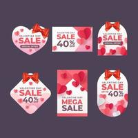 Set of Valentine Sale Label vector