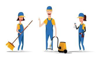 Cleaning service staff smiling cartoon characters isolated on white background. Men and women dressed in uniform vector illustration in a flat style. Cute and cheerful maids and housekeeping concept.