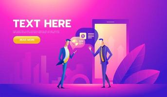 Coworkers office concept with characters. Freelancer concept, coworking people. Standing employee space for businessmen. Flat Isometric illustration vector