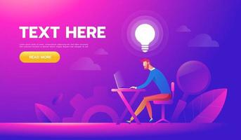 Happy businessman working at his desk and creating idea bulbs. Business idea concept vector