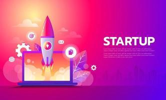 Inicio de negocios lanzando producto con concepto de cohete. plantilla y fondo.