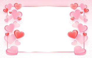 Background with Pink and Red Hearts vector