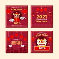 Cute Ox Lion Dance for Chinese New Year vector