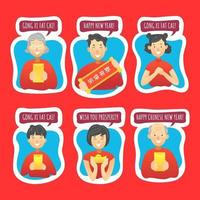 Chinese New Year Stickers with Family Character vector